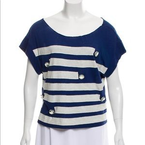 3.1 Phillip Lim navy white embellished loose top M